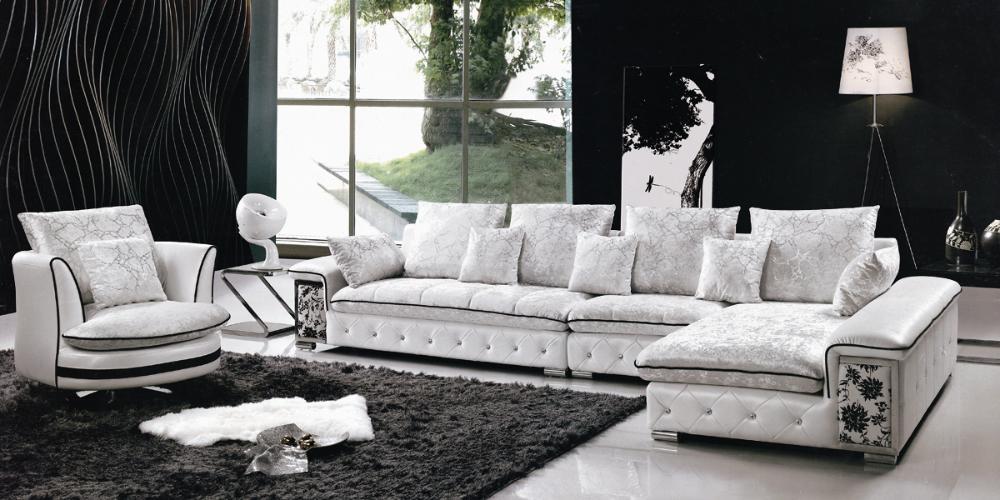 Leather Fabric Sofa Set L Shaped