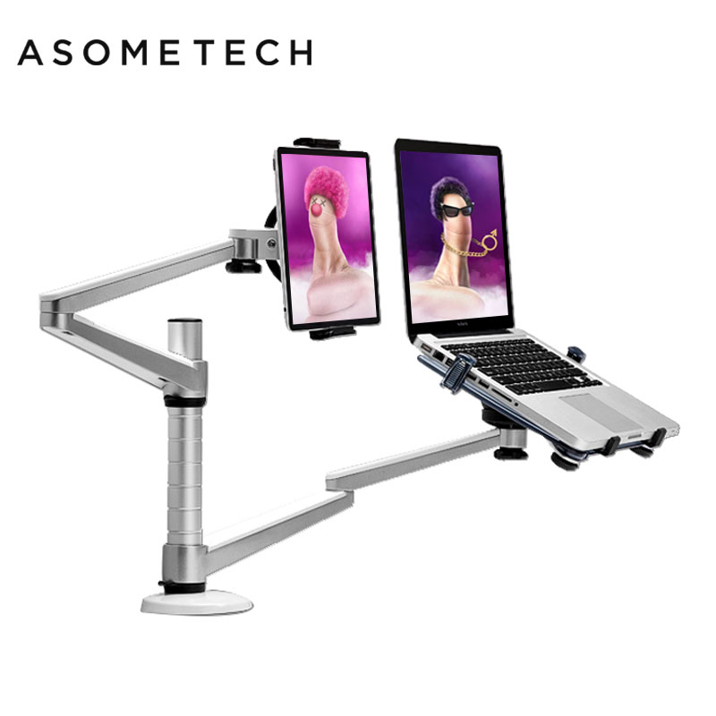 Strong Dual Arm Universal Rotation Stands Aluminum Alloy Notebook Mount Holder Support for 9-15 inch Laptop/Tablet Lapdesk Stand loctek d5f2 dual use notebook laptop mount arm monitor holder with usb fan lapdesk for 15 6 inch laptop and 10 27 monitor