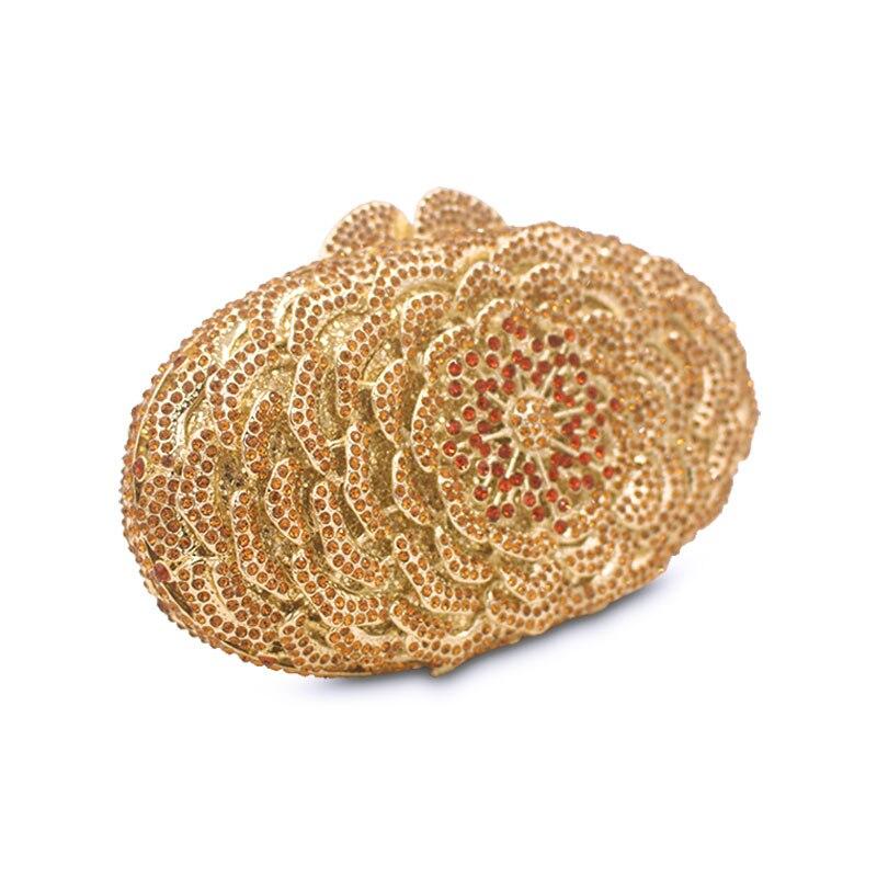 Embrayages Sac Fête Luxe Femmes Main Paon À Chaîne Diamant D'or Soirée De Sacs En Femme Portemonnaie Pour Cristal Fleur Gold Mariage Jour A0PHg