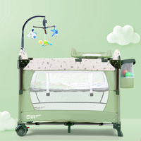 Coolbaby crib multi function collapsible portable baby bed cradle bed crib splicing bed