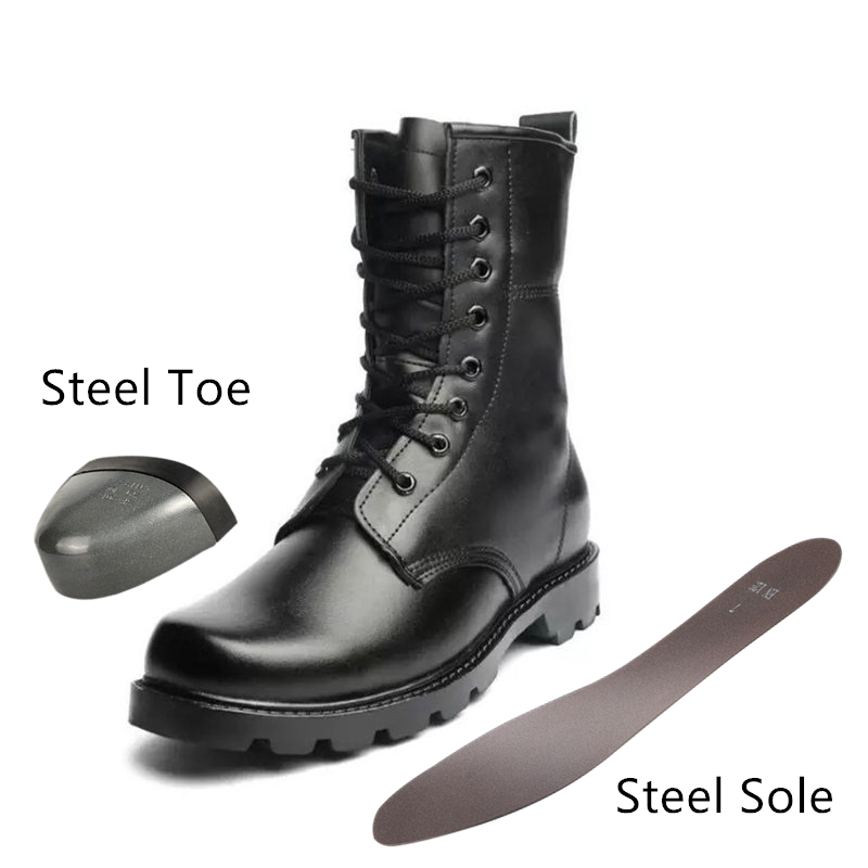 Fashion Safety Boots Steel Toe Mid-plate Anti-slip Anti-smashing Wilderness Survival Work Men Boots #WG199(China)