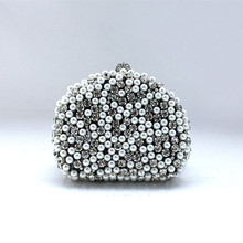 Rhinestone Heart-shaped Beaded Evening Bags Clutch Long Chain Shoulder Bags Wedding Bridal Party Bags