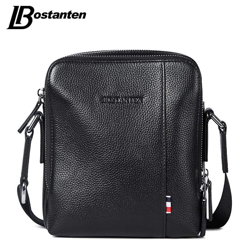Bostanten Real Cow Genuine Leather Men Messenger Bag Brand Causal Small Mens Crossbody Bags Business Double Zipper Bags Male kapous professional лосьон против перхоти