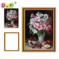 DPF Framed Diamond Painting Flower Diamond Embroidery Mosaic Full Round Rhinestone Living Decor Wall Painting Unique