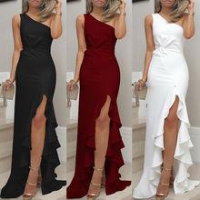 цена на Womens One Shoulder Ruffles Long Evening Dresses Slit Formal Prom Dress