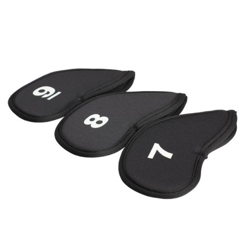 Super sell 10pcs Golf Head Cover Iron Putter Head Protector Set Neoprene Black