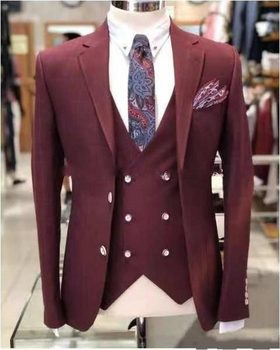 New Arrival Two Buttons Burgundy Groom Tuxedos Groomsmen Notch Lapel Mens Suits Blazers (Jacket+Pants+Vest+Tie) W:1005