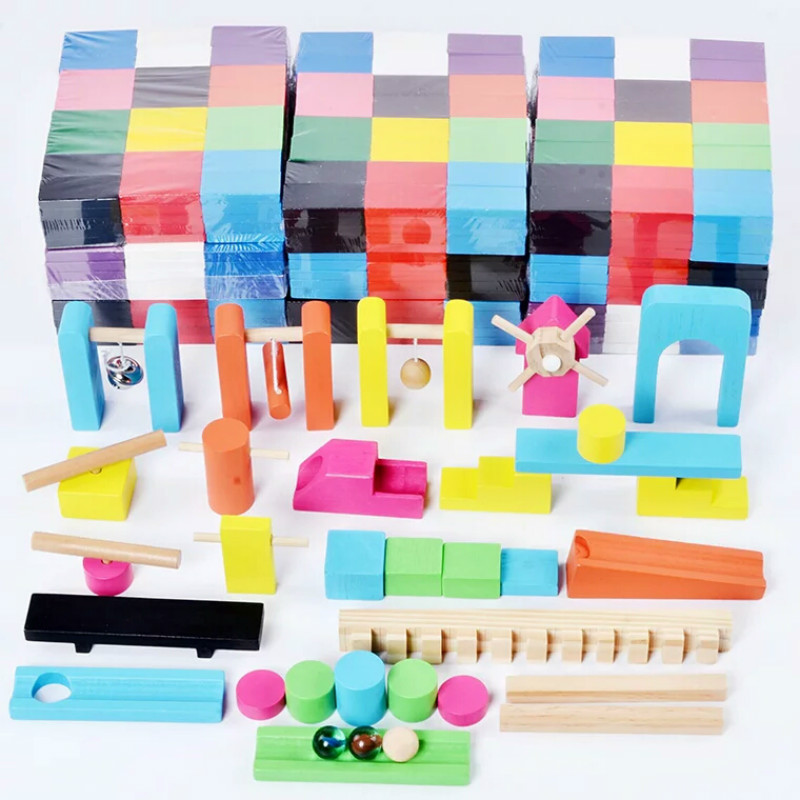 2/7/10/12/120pc Color Sort Wooden Domino Institution Accessories Blocks Jigsaw Adult Dominoes Games Montessori Toys For Children