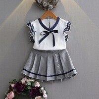 Summer Baby's Sets preppy style ruffles blouse shirt+pleated Tutu Skirts Princess Girls Kids 2 pcs Suits conjunto roupas de bebe