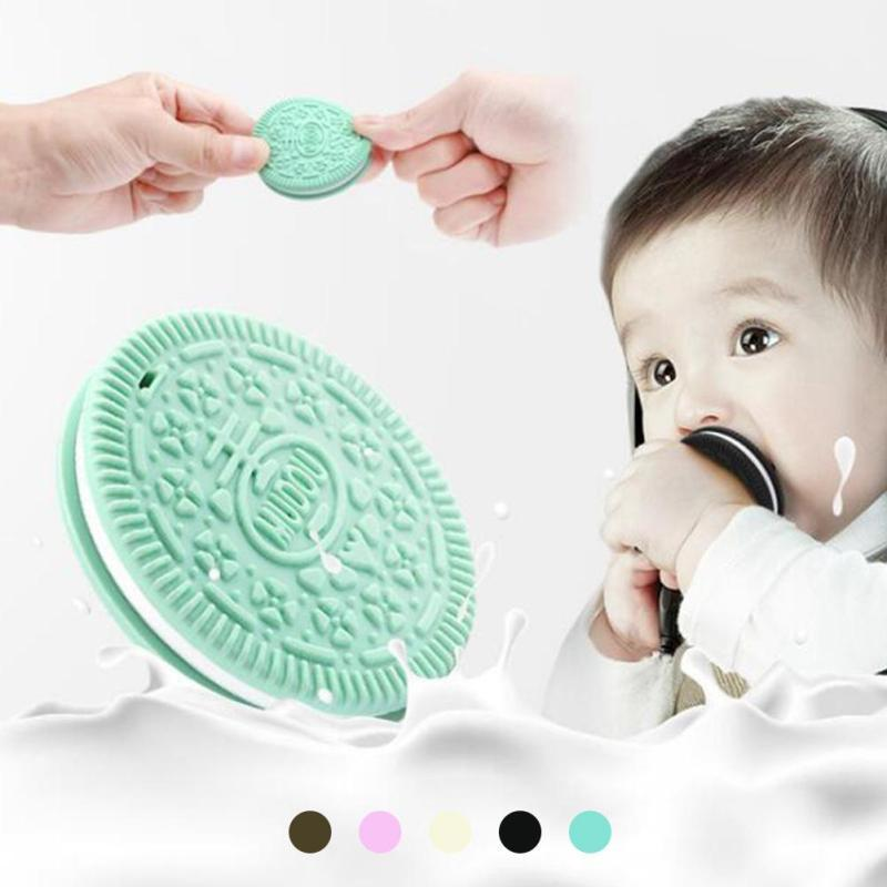 Soft Newborn Teething teethers Silicone Cookie shape baby Rattles Biting Teething Teethers Comforting Infant Toys Gift D3