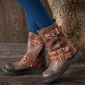 2017 Outono Mulheres Do Vintage Sapatos Mulheres Botas de Salto Plana Fivela Rebite Dedos Dos Pés Redondos de Couro Genuíno