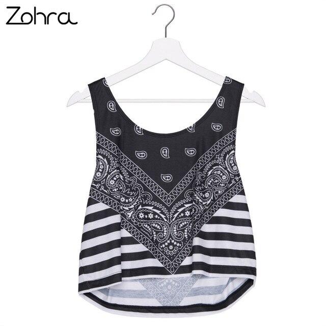 1ac4d375e78a5a Zohra Hot Sale Casual Short Tank Tops Black Amoeba Pattern Stripes Print  Women Crop Top Sexy Vest Women Printing Camis