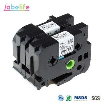 Labelife 24 мм черная на белом TZe251 TZ251 TZe-251 TZe 251 совместимая лента для p touch label tape