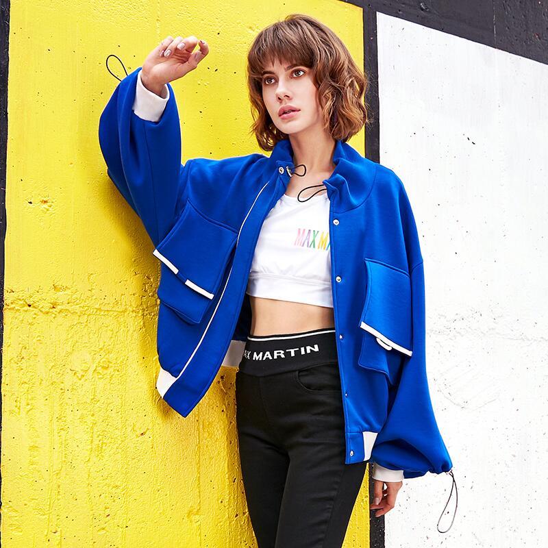 Stand Blue Dentelle De Nouvelle Arrivée Lâche Up Mode Col Femmes Manches Vestes Lanterne 2019 Printemps Manteaux wTPzZznq