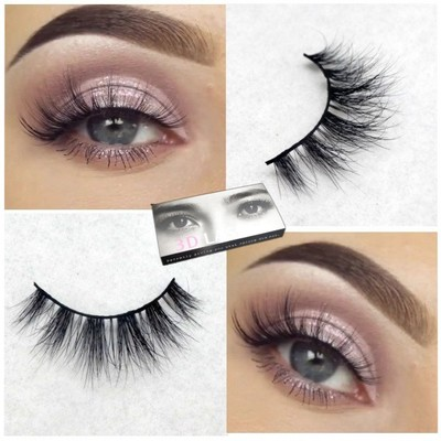 100% mink 3D False Eyelashes Messy Cross Thick Natural ...