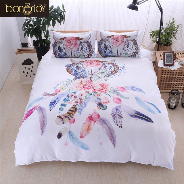 5f783c8c712 Bonenjoy White Bed Cover Dream Catcher Print Colorful Flower Queen King  Size Bedding Set Bed Linen Single Bed Quilt Cover Sets