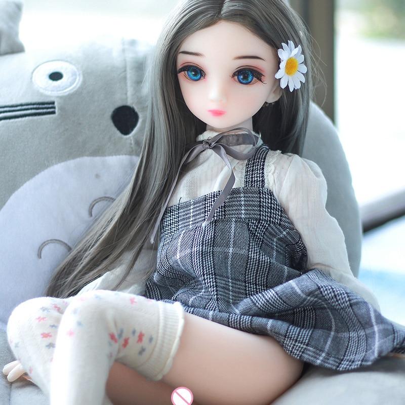 Verdadeiro Silicone Bonecas Sexuais 65cm Cabeça Dos Desenhos Animados Mini Menina Sexo Vida Artificial tamanho Real Da Vagina Buceta Brinquedos Sexuais Para Adultos para Os Homens