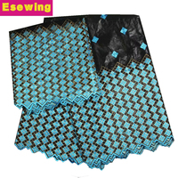 African Lace Fabric Bazin Riche Fabric 2019 New Design Embroidered Bazin Riche Getzner With Tulle Lace African Lace Blue+Black!