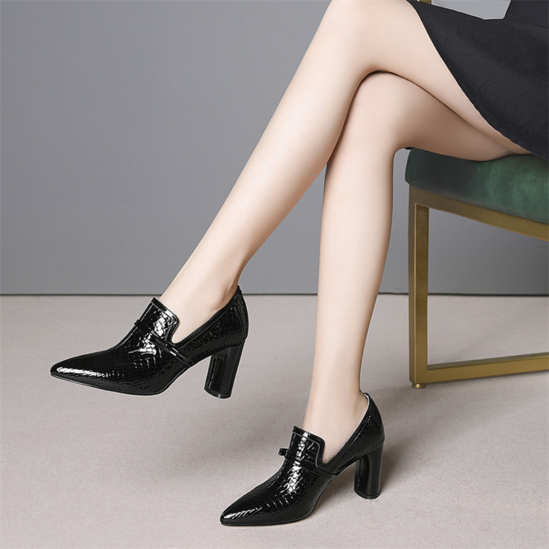 FEDONAS Top qualité talons hauts en cuir véritable bout pointu chaussures de fête femme sans lacet printemps été marque bureau pompes chaussures - 5