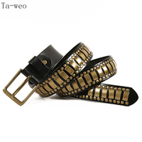 Ta weo Fashion Punk Hip hop Rivet Belts, Unisex Pin Buckle Belt, Designer Men Belts High Quality, Female Belt