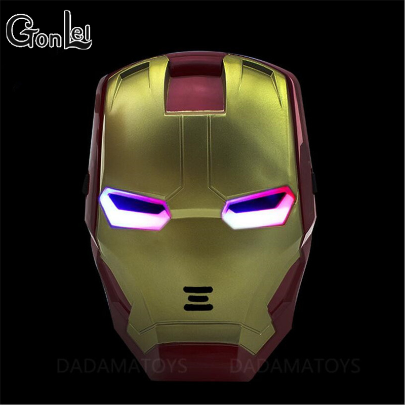 GonLeI The Avengers 2 Figures Toys Iron man Motorcycle Helmet Mask Tony Stark Mark Cosplay with LED Light Action Figure Kids image