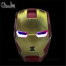 GonLeI The Avengers 2 Figures Toys Iron man Motorcycle Helmet Mask Tony Stark Mark Cosplay with LED Light Action Figure Kids