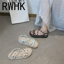 RWHK Sandals female fairy wind wild 2019 summer new word buckle with spot shoes flat beach tide B457