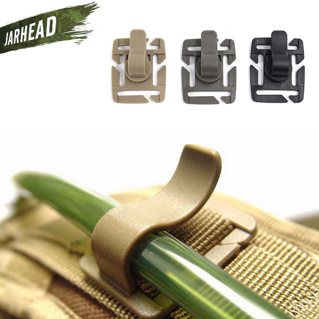 Tactical Military Water Tube Adjustable Rotatable Pipe Holder Clip Buckle Outdoor Molle System Hydration Water Bag Accessories