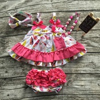 Summer Baby Girls New Kids Clothes Suit Hot Pink Feather Tops Swing Outfits Kids Swing With
