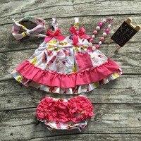 Zomer baby meisjes nieuwe kinderkleding pak hot roze veer tops swing outfits kids swing met bijpassende hoofdband en ketting