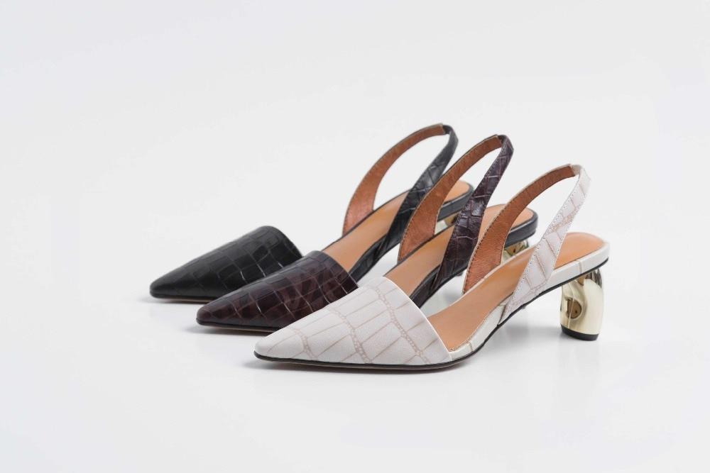 Tacones Zapatos Cuadrado Med Elegante Pie vino Británico Metal Fiesta negro Huecas Beige Completo L69 Sandalias De Dedo Tinto Concisos Slip Cuero Estilo Del En Grano OtIwUqw