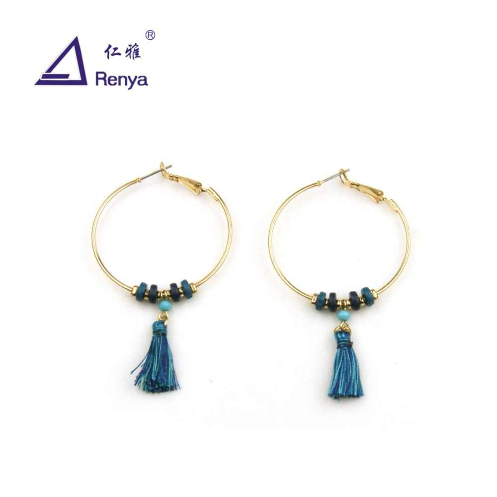 Renya Free Shipping Simple Blue Hoop Earrings Beaded Pendant Tassel Earrings Fashion Bohe Jewelry For Women And Girls