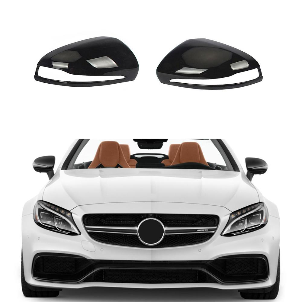 Left Right Black Rearview Wing Mirror Cover Cap For Mercedes-Benz C-Class W205 E W213 S W222 GLC X253Left Right Black Rearview Wing Mirror Cover Cap For Mercedes-Benz C-Class W205 E W213 S W222 GLC X253