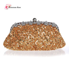 2016 Vintage frauen Sequins Rahmen Handtaschen Geldbörsen Strass Perlen Hochzeit Handtaschen Schulter Messenger Bags