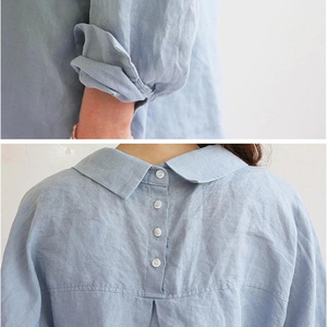 Image 3 - Blouse Womens White Blouses Shirt Spring Summer Blusas Office Lady Elegant Loose Tops and Blouses Casual Linen Women