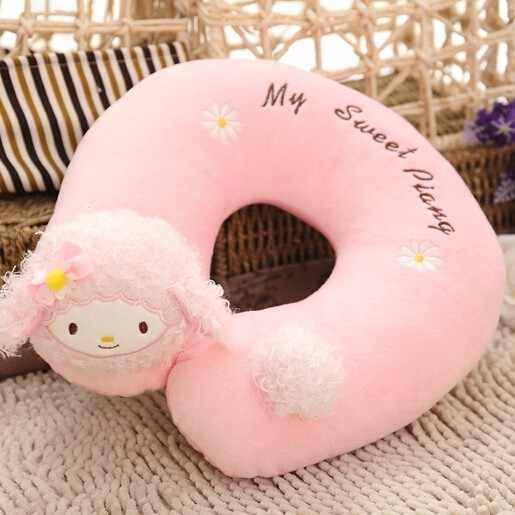 2016 Hot Sale 28 cm Rosa Em forma de U Travesseiro de Pescoço de Pelúcia Bonito travesseiro Escritório Cochilo Travesseiro Travesseiro de Viagem os Melhores Presentes para As Crianças e Meninas ST223