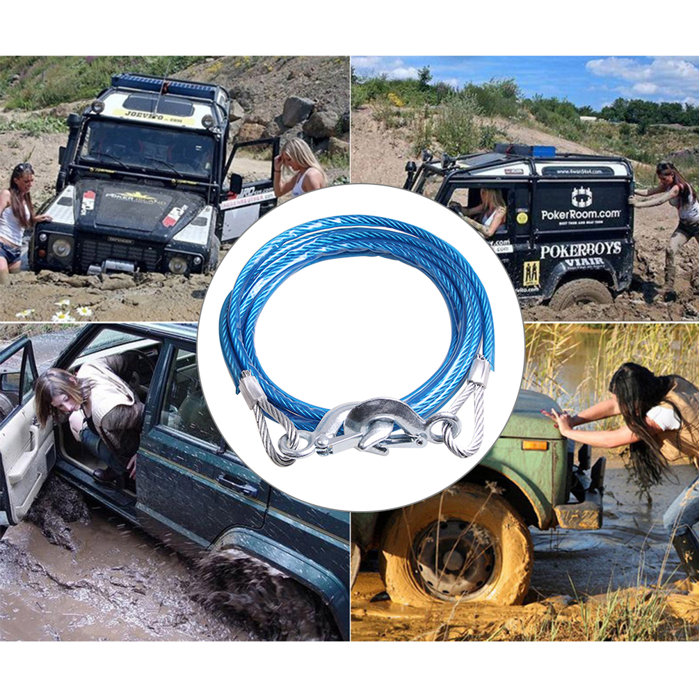 5 Tons 4M Car Towing Rope Auto Boat Truck Towing Strap Rope Hook Car Towing Rope Heavy Emergency Steel Ropes in Towing Ropes from Automobiles Motorcycles