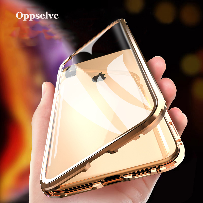 Oppselve Luxury Double Sided Glass Metal Magnetic Case For iPhone Xs Max Xr X 8 7 6 6s Plus Magnet Cover 360 Protection Capinhas smartphone