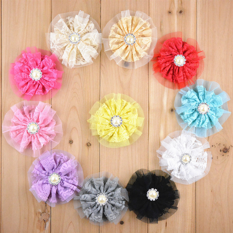 wholesale 100 pcs/lot , Double Layered Lace Flowers with pearl accent   3.5 inches  PICK COLORS-in Hair Accessories from Mother & Kids    3