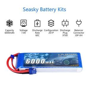 Image 2 - SEASKY 2S lipo batterie 7,4 v 6000mAh 60C RC batterie lipo 7,4 V Batterie XT60 für FPV drone auto