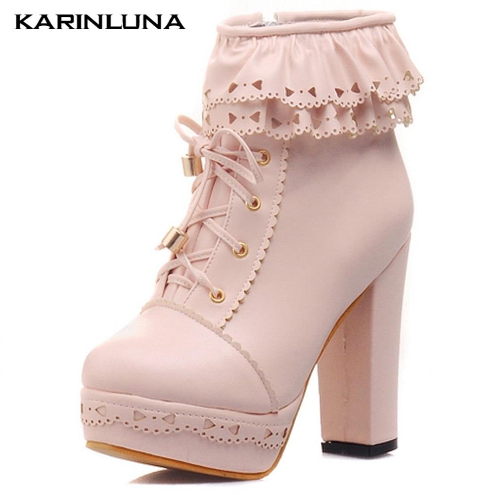 Karinluna dames bottines femmes dentelle douce Lolita belle Cosplay plate-forme dames talons hauts bottes femme chaussures grande taille 48