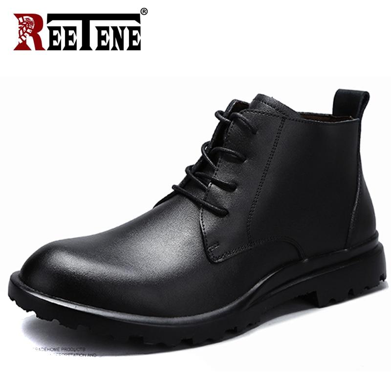 REETENE 2018 New Men Boots Winter Black Leather Fur Men'S Boots Warm Ankle Boots Men High Quality Leather Autumn Men Shoes 38-49 mulinsen new 2017 autumn winter men
