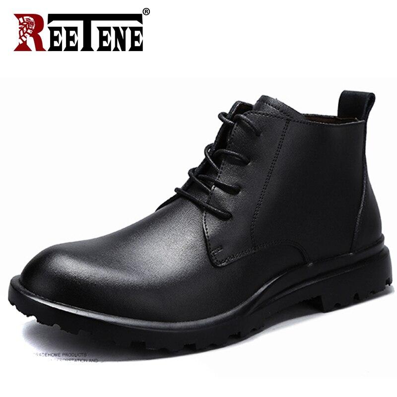 REETENE 2018 Nouveau Hommes Bottes D'hiver Noir En Cuir De Fourrure Hommes Bottes En Cuir Chaud Cheville Bottes Hommes Haute Qualité Automne Hommes chaussures 38-49