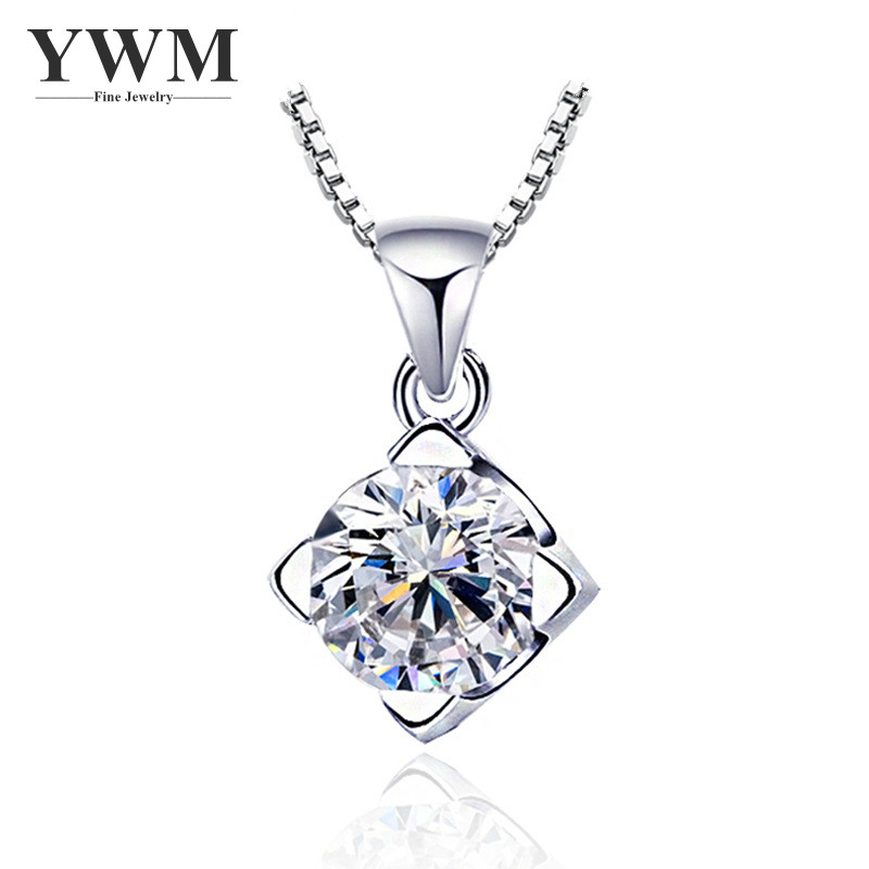 YWM 925 Sterling Silver Glamorous Pendant Necklace Fashion Korean Version Necklace Simple Ladies Necklace Jewelry for Women