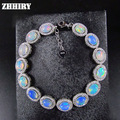 ZHHIRY Women Natural Opal Gem Bracelet Genuine Solid 925 Sterling Silver White Fire Color Precious Stone Fine Jewelry