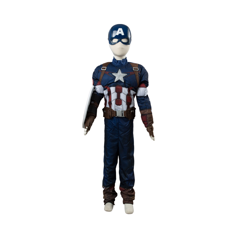 Hot Marvel Avengers Captain America Cosplay Costume Kids Full Sets Cosplay Costume Halloween Carnival