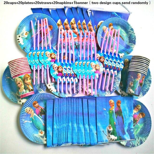 81 piezas 20 personas Feliz cumpleaños niños congelados disney bebé niña fiesta decoración conjunto banner mantel pajitas taza proveedor