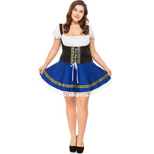 Umorden German Bavarian Oktoberfest Costume Women Blue White Beer Maid Waiter Cosplay Fancy Dress Halloween 4XL Plus Size Big