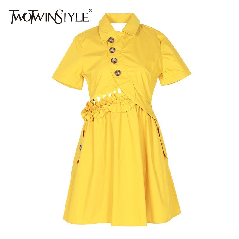 TWOTWINSTYLE Elegant Solid Women Dress Lapel Short Sleeve High Waist Button Ruffles Slim Mini Dresses Female Fashion Summer 2019