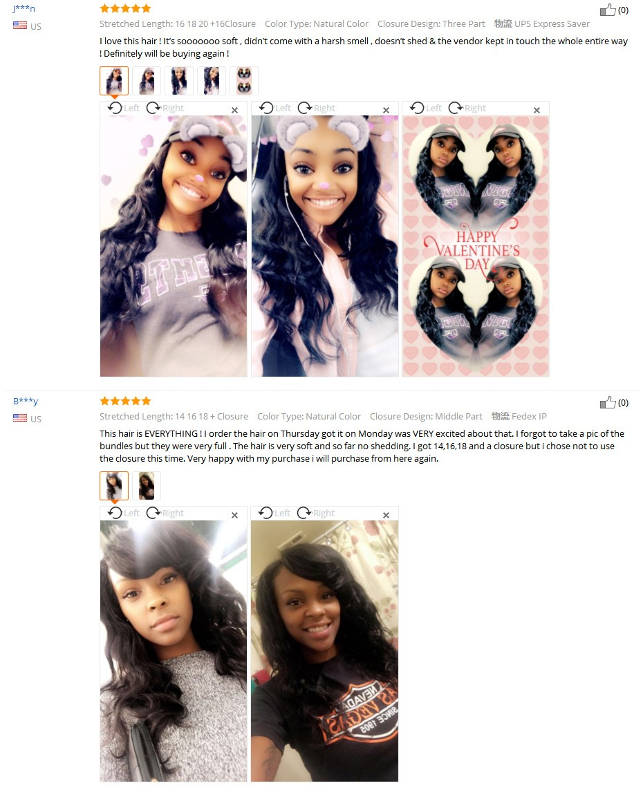 feedback_03  Gabrielle Hair Brazilian Physique Wave Hair Three Bundles with Closure Pure Coloration 100% Non-remy Human Hair Weave Bundles With Closure HTB1nA